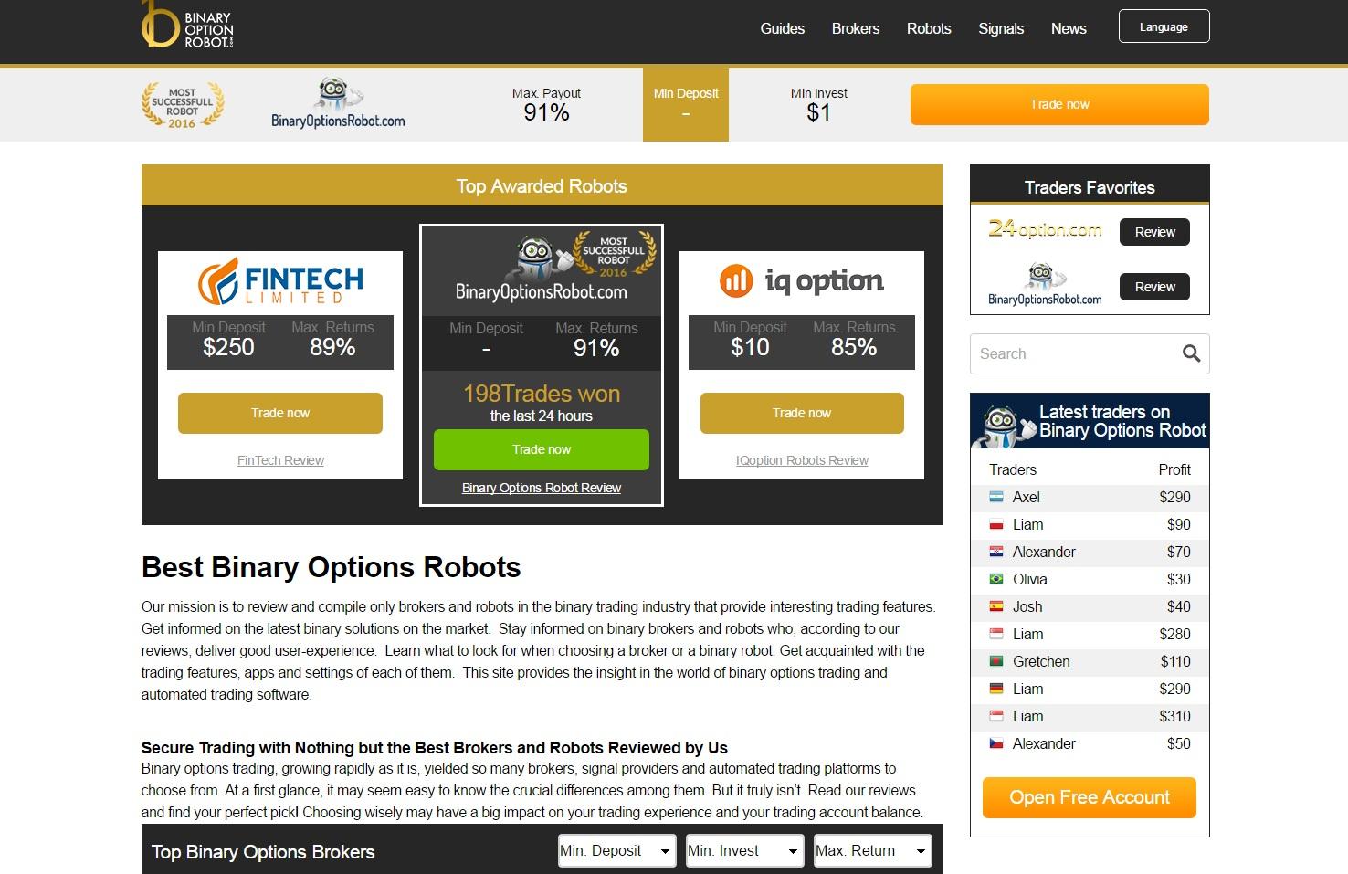 tranzacționarea robotului cu opțiuni binare recenzii de site- uri pentru a câștiga bani pe Internet